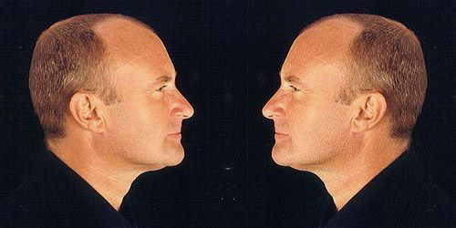 Two Phil Collins facing each other